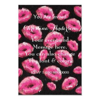 Labios abstractos rosados fluorescentes invitación 8,9 x 12,7 cm