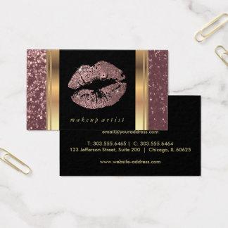Labios color de rosa polvorientos del brillo del tarjeta de negocios