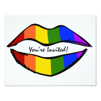 Labios del arco iris invitación 10,8 x 13,9 cm