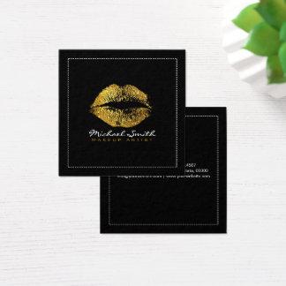 Labios elegantes del brillo del oro del artista de tarjeta de visita cuadrada