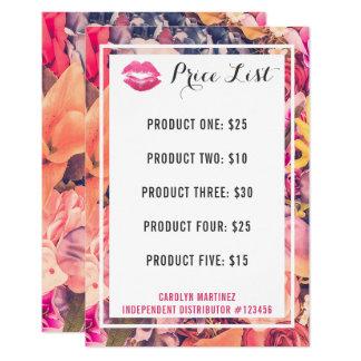 Labios florales del beso de la lista de precios invitación 8,9 x 12,7 cm