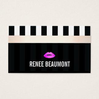 Labios modernos del rosa del artista de maquillaje tarjeta de negocios