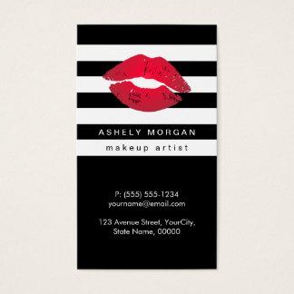 Labios rojos del maquillaje moderno - rayas tarjeta de negocios