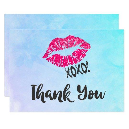 ¡Labios rosados de Kissy con xoxo! Gracias Invitación 8,9 X 12,7 Cm
