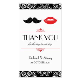 Labios y etiquetas del favor del boda del bigote tarjetas de visita