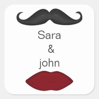 labios y sello del sobre del boda de la MOD del Pegatina Cuadrada