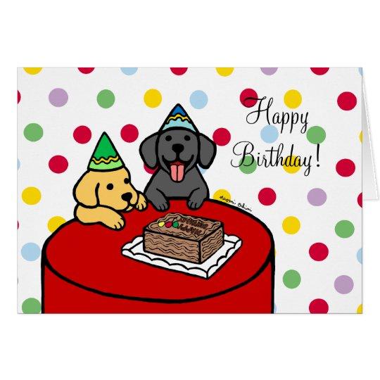 Laboratorio amarillo 2 y cumpleaños negro del tarjeta de felicitación