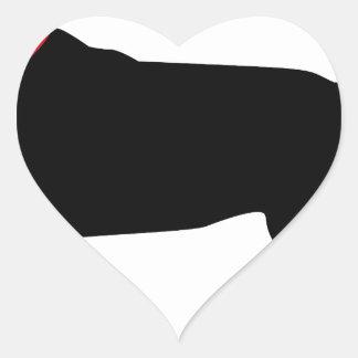Labrador negro con el cuello rojo pegatina en forma de corazón