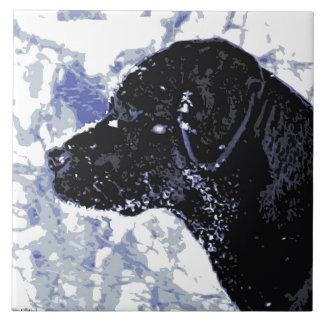 Labrador negro - país de las maravillas del azulejo cuadrado grande
