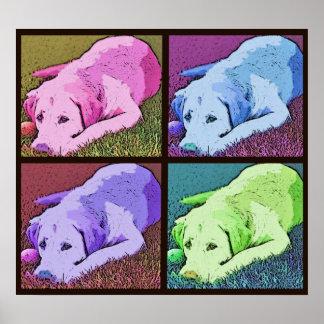Labrador retriever del amarillo del patio del arte