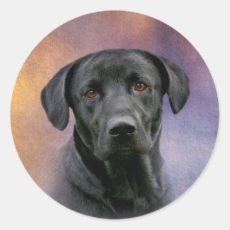 Labrador retriever negro pegatina redonda