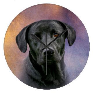 Labrador retriever negro reloj redondo grande