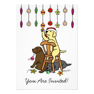Labradors y dibujo animado de los ornamentos del n comunicado personalizado