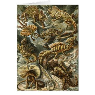 Lacertilia por los animales del lagarto del tarjeta de felicitación