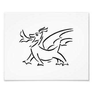 lado feliz del esquema del negro del dragón impresiones fotográficas