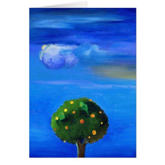 Lado positivo sobre el árbol anaranjado 2012 tarjeta de felicitación