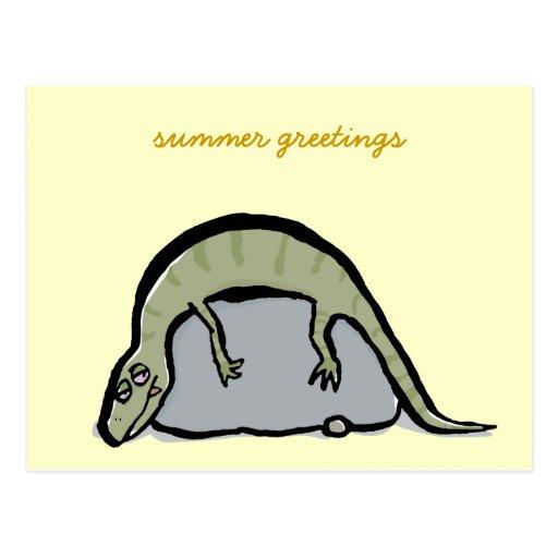 lagarto en el sol - palabras adaptables postales
