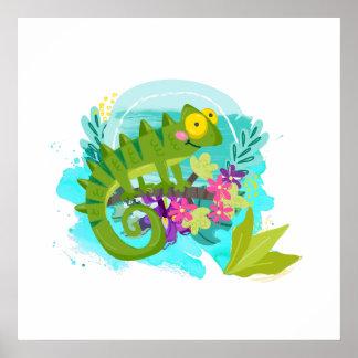 Lagarto tropical verde con las flores póster