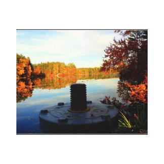 Lago autumn impresión en lienzo