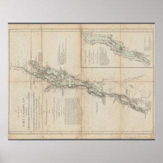 Lago Champlain y mapa histórico 1762 de George del Póster