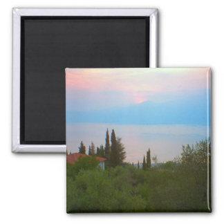 Lago Como en la puesta del sol Imán Cuadrado