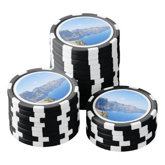Lago crater del panorama juego de fichas de póquer
