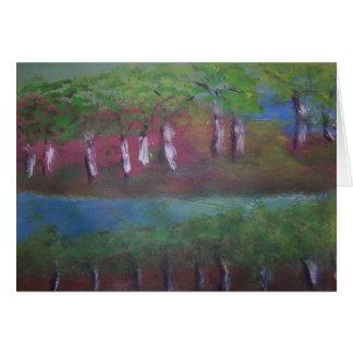 lago, de tarjeta de arte de postal y. bosque,