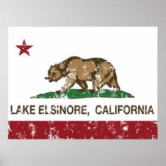 Lago Elsinore flag del estado de California Poster