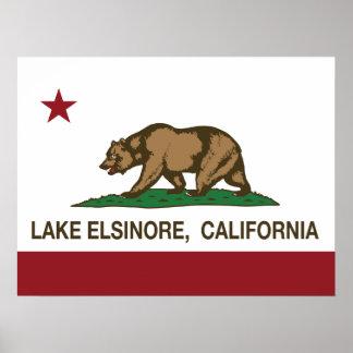 Lago Elsinore flag del estado de California Posters