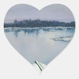 Lago forest pegatina en forma de corazón