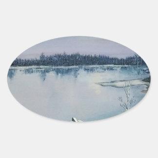 Lago forest pegatina ovalada