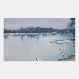 Lago forest pegatina rectangular