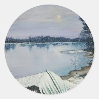 Lago forest pegatina redonda