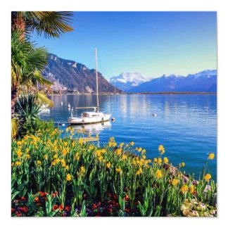 Lago geneva en Montreux, Vaud, Suiza Invitación 13,3 Cm X 13,3cm