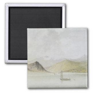 Lago Maggiore (w/c, pluma, tinta y grafito en el p Imán Cuadrado