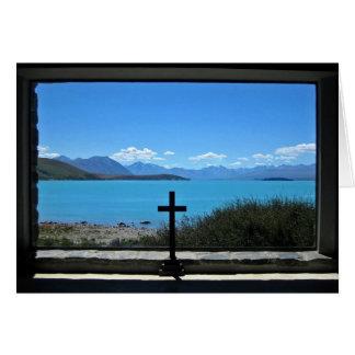 Lago Tekapo, NZ.  de la iglesia del buen pastor Tarjeta