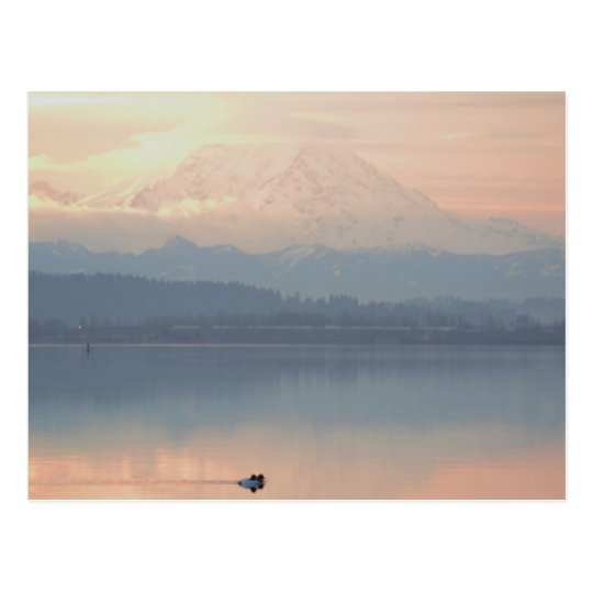 lago Washington del swimin de la salida del sol Postal