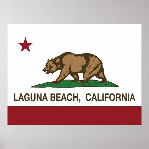 Laguna Beach de la bandera del estado de Californi Impresiones