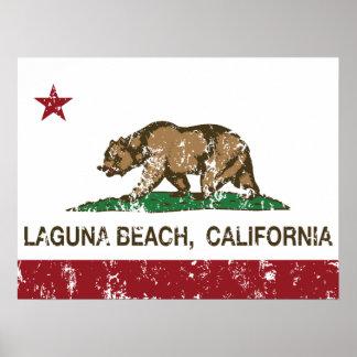 Laguna Beach de la bandera del estado de Californi Poster