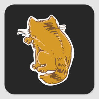 lamedura del dibujo animado del dulce del gato de pegatina cuadrada