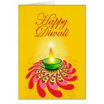 Lámpara amarilla hermosa de Diwali Tarjeta De Felicitación