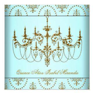 Lámpara azul Quinceanera del oro del trullo Invitación 13,3 Cm X 13,3cm