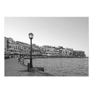 """Lámpara de calle en la """"promenade"""" del mar foto"""