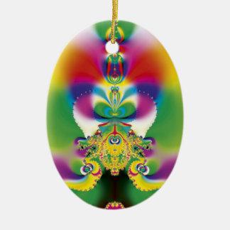 Lámpara mágica adorno navideño ovalado de cerámica
