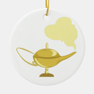 Lámpara mágica adorno navideño redondo de cerámica