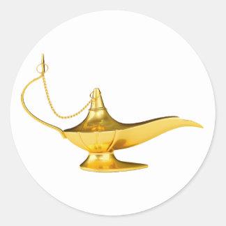 Lámpara mágica de los genios pegatina redonda