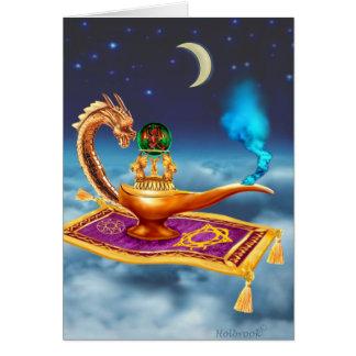 Lámpara mágica del dragón tarjeta de felicitación