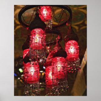 Lámpara para la venta, bazar del EL Khalili de Kha Póster