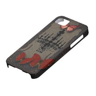 Lámpara roja del negro de la mariposa de Steampunk iPhone 5 Case-Mate Fundas