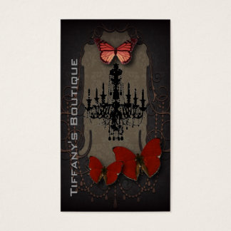 Lámpara roja del negro de la mariposa de Steampunk Tarjeta De Negocios